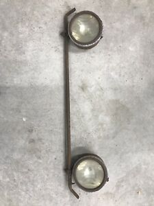Vintage Early Pair Of Headlights With Mounting Bar Rat Rod Hot Rod