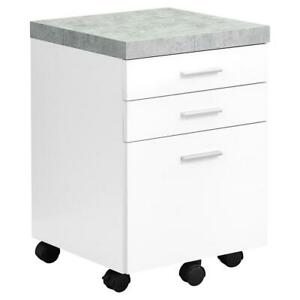 Filing Cabinet 3 Drawer White Cement look On Castor
