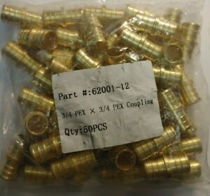 lot Of 50 3 4 Pex Coupling Brass Crimping Fittings Lead Free