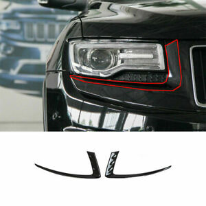 Front Head Light Lamp Eyebrow Cover Trim For Jeep Grand Cherokee 2014 2016 A