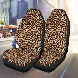 2pcs Car Front Seat Cover Universal Polyester Leopard Print Design Suv Cushion