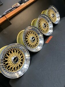 Bbs Rs 021 Bmw Wheels Date Match 1987 Gold 16x8 Very Rare Freshly Restored 5x120