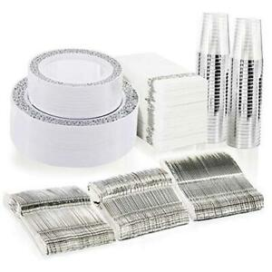 350pcs Silver Plastic Plates With Disposable Plastic Silverware hand Napkins S