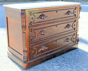 Antique Marble Top Dresser Chest Of Drawers Victorian Walnut