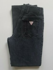 1980#x27;s Guess Vintage High Waist Women's Jeans Black with Button Fly Size 28 $35.00