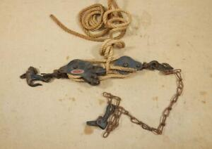 Antique Vintage Block Pulley Double Rope Hoist By Moline Iron Works original