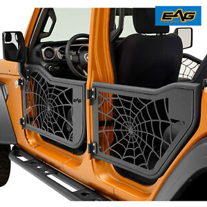 Eag Tube Spider Web Door With Sideview Mirror Fit For 18 21 Jeep Jl Wrangler 4dr