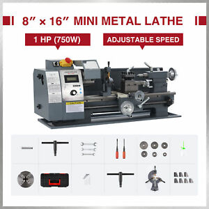 8 x16 2250rpm Mini Lathe Benchtop Cutter W 750w Motor For Metal Woodworking