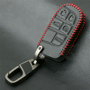Remote Key Fob Cover Leather Case For Jeep Grand Cherokee Chrysler Dodge Fiat
