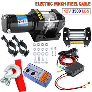 12v Electric Winch 3500lbs Atv Utv Waterproof Recovery With Wireless Remote