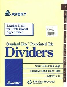 Avery Preprinted Brown Leather Tab Dividers Clear Reinforced Edge 12 tab Ltr