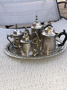 Miniature English Or Country French Silverplate Coffee Tea Set