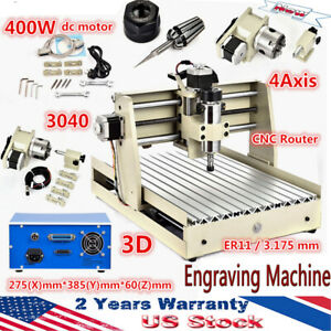 400w 4axis 3040 Cnc Router Engraving Machine Milling Parallel Type Diy Cutter Us
