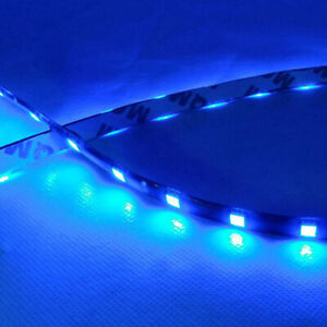 2pcs Car 12 Led Blue 30cm 5050 Smd Strip Flexible Light Decor Accessories