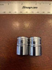 Snap On 3 8 Drive 13mm And 14mm Metric Shallow 6 Point Socket Fsm13 Fsm14