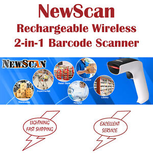 Newscan Rechargeable Wireless 2 in 1 Handheld 1d Barcode Scanner W Usb Receiver