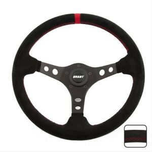 Grant Products Black Suede Racing Steering Wheel With Red Stripe 695