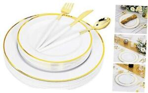 120 Pcs Gold Plastic Plates With Silverware Disposable White Plate With Gold R