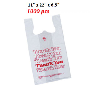 T shirt Thank You Plastic Grocery Store Carry Out Bag Standard 1000ct Reusable