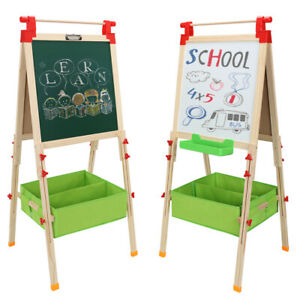 Dry Erase Children Kid Stand Drawing Board Easel Storage Whiteboard W paper Roll