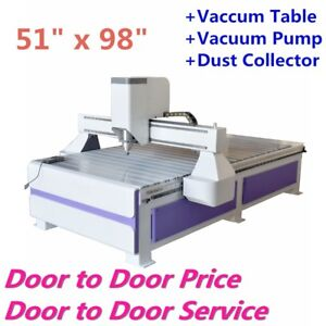Usa 51 X 98 Ad Woodworking Cnc Router Routing Machine With Vaccum System