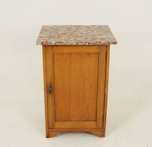 Antique Ash Night Stand Marble Top Lamp Table Scotland 1900 B2207