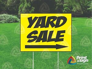 Yard Sale W Arrow 18 x24 Sign Coroplast Printed Double Sided With Free Stand