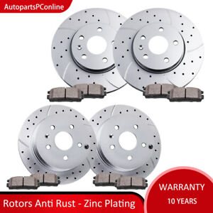 Drilled Slotted Front Rear Rotors Brake Pads For 10 17 Gmc Terrain Chevy Equinox