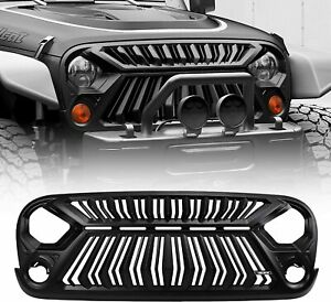 no Leds Front Grill Cover Upper Hood For Jeep Wrangler Jk Jku 2007 2017 Matte
