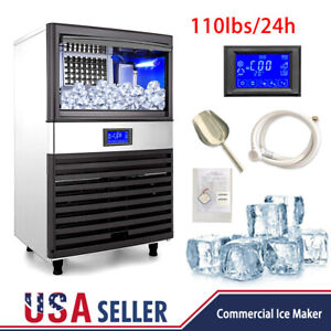 Us 110lbs Built in Commercial Ice Maker Undercounter Freestand Ice Cube Machine