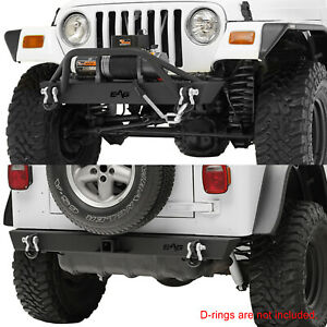 Rock Crawler Combo Front rear Bumper Textured Fits 87 06 Jeep Wrangler Tj Yj