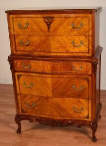 1910s Antique French Satinwood Highboy Dresser Chest Of Drawers