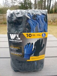 Wells Lamont Antimicrobial Foam Latex Work Gloves Size Large 10 Pairs