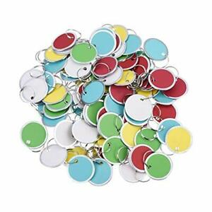 Metal Rimmed Key Tags Round Paper Tags With Split Rings 31mm Multicolor 100piece