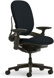 Steelcase Leap V2 Chair W platinum Base And Frame Black Fabric renewed