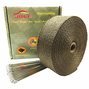 Ledaut 2 X 50 Titanium Exhaust Heat Wrap Roll For Motorcycle Fiberglass Heat