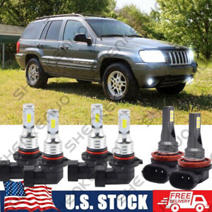 For Jeep Grand Cherokee 1999 2004 6x 6000k Led Headlight High Low Fog Light