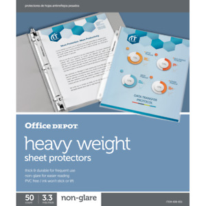 Office Depot Top loading Sheet Protectors Heavyweight Non glare 50 pack