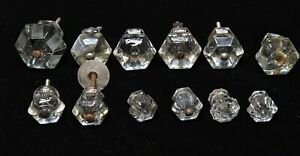 12 Vintage Various Sizes Clear Glass Drawer Cabinet Knobs Handles Pulls