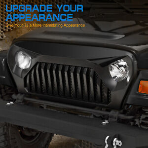 Eag Main Front Grille Overlay Grill Cover Fits For Tj 97 06 Jeep Wrangler