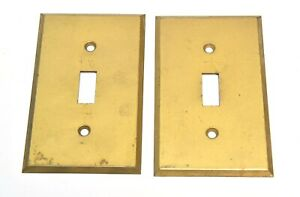 2 Vintage Brass Single Switch Plate Cover