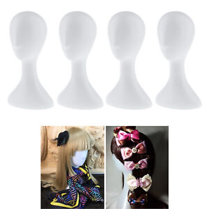 4pcs White Plastic Mannequin Head Model Wig Hat Scarf Display Stand Holder
