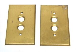 2 Vintage Push Button Brass Cover Switch Plates