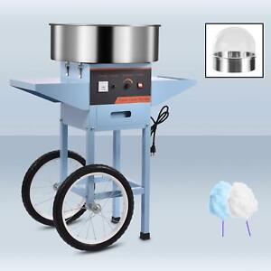 Electric Commercial Cotton Candy Machine Floss Maker Pink Blue Cart Stand