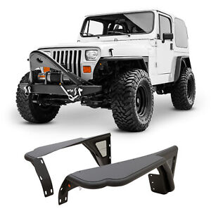 Fits 87 95 Jeep Wrangler Yj Tube Front Fender Flare Rocker Guard W Mesh Textured