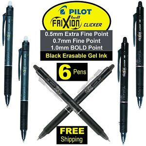 Pilot Frixion Clicker Pens 05 07 10 Black Erasable Gel Ink Pack Of 6 Pens