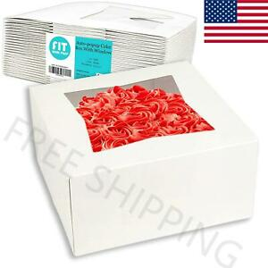 25 Pack Pie cake Box With Window 6x6x3 white Cardboard Bakery Packaging