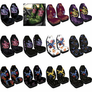 Dragon And Rose Car Seat Covers Front Universal Fit Auto Accessory Decot 2 Pack