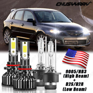 Front Hid Led Headlight Bulbs For Mazda 3 2004 2009 Low High Beam Fit Qty 4