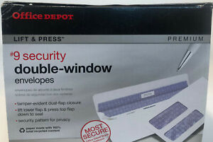 Office Depot Lift Press Double Window 9 Security Envelopes Lot Of 25